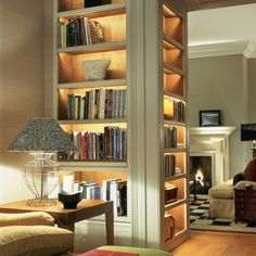 walls turned into book shelves
