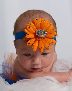 LAST ONE… Florida Gators Baby Headband…orange flower with blue Swarovski Crystals and University of Florida Gator Charm - Easy flowers