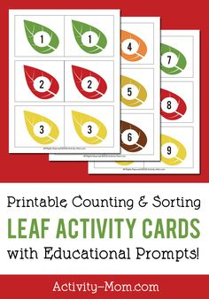 Free Printable Leaf Number Cards for matching, counting, sorting, and more! Autumn Activities For Kids, Printable Activities For Kids, Preschool Learning Activities, Holiday Activities, Fun Learning, Toddler Activities, Learning Resources, Free Printable Numbers, Printable Cards