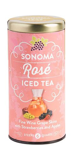 Rosé Iced Tea, This sophisticated sipper is made from Sonoma Pinot Noir and Sauvignon Blanc fine wine grape skins married with ripe strawberries, crisp red apples and a light, floral finish.