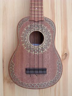 Hand painted mahogany soprano ukulele. by route9 on Etsy More