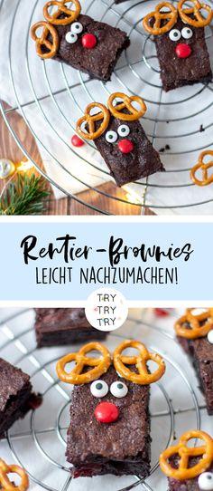 Rudolph-Rentier-Brownies mit Kirschen