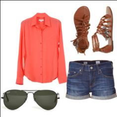 great colored button up, jean shorts, flats and shades-summertime!