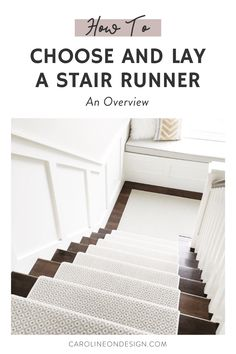 Learn how to choose the look of your stair runner and the ways to lay it. I share the best carpet styles, pattern considerations, and ways to lay a carpet on stairs to help you make choices today! #stairrunner #stairs How To Carpet Stairs, Stairs With Carpet Runner, How To Lay Carpet, Stair Rug Runner, Staircase Runner, Stair Rugs, Runner Rugs, Stair Runners, Unique House Design