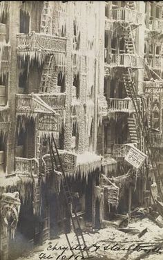 Eugene Wemlinger Buildings Covered in Ice, Chrystie and Stanton Streets, Lower East Side, New York City 1912