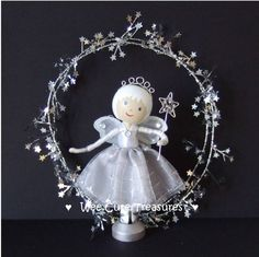 idea for a Magical Silver Fairy with wand clothes peg doll :-)