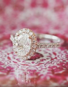 Love this stunning diamond engagement ring in rose gold.