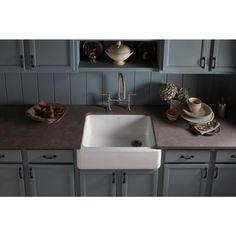 KOHLER Whitehaven Undermount Farmhouse Apron-Front Cast Iron 30 in. Single Basin Kitchen Sink in White
