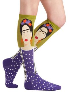Frida Be Me Socks in Green and Purple - Nifty Nerd, Good, Variation, Knit, Multi, Green, Purple, Novelty Print, Top Rated, Fall, Winter