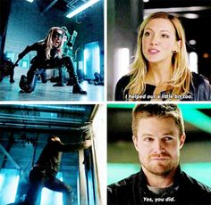 """I helped out a little bit too"" - Laurel and Oliver Emily Arrow, Arrow Oliver, The Flash, Oliver And Laurel, Canary Arrow, Arrow Tv, Team Arrow, Arrow Season 4, Black Siren"