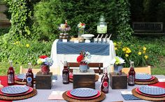Pin for Later: 99 Ways to Make This Your Best Fourth of July Ever! Party On! Table Settings A blue and white gingham tablecloth gives the seated table an old-fashioned picnic feel, and layered place settings add interest. Bbq Party, Burger Party, Barbacoa, Bbq Table, Backyard Bbq, Summer Bbq, Party Themes, Party Ideas, Bbq Ideas