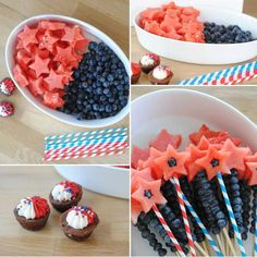 These watermelon and blueberry stars would make a fun addition to a cup of vanilla yogurt topped with granola for a 4th of July breakfast!