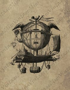 VintageClips digital BUNDLED PACK - Balloons and airships  - high resolution vintage illustrations for mixed media, etc.. $7.75, via Etsy.