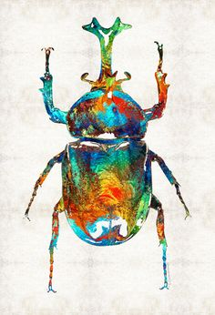 """Scarab Beauty"""" Mixed Media Beetle Painting/Collage Sharon Cummings 2014"""