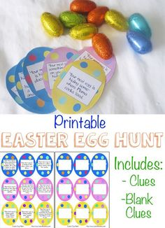 This Printable Easter Egg Hunt is great for toddlers, preschoolers, kindergarteners and elementary kids. There are written clues as well as blank clues so that you can adjust it to the appropriate age of the child. We love simple and fun easter crafts! Easter Activities For Kids, Easter Games, Easter Crafts For Kids, Easter Ideas, Toddler Preschool, Toddler Activities, Outdoor Activities, Preschool Prep, Holiday Activities