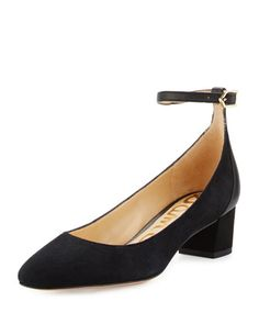 Lola Suede Ankle-Wrap Pump, Black by Sam Edelman at Neiman Marcus.