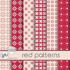 "Red Digital Paper: ""RED PATTERNS"" with red digital paper in red, red scrapbooking paper, patterns for scrapbooking, cards and invitations"