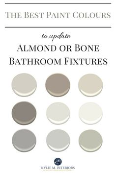 The best paint colours to update a bathroom with almond or bone toilet, sink, tub, shower or fixtures. Kylie M Interiors E-design and Online Color Consultant