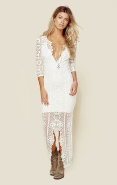 The Jen's Pirate Booty Galactic Birkin Dress features the brands own hand drawn embroidered lace over a contrasting detachable slip with deep V neckline and 3/4 sleeves.ImportedDry Clean Only100% Cott