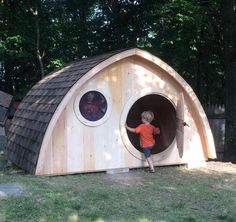Large Hobbit Hole Playhouse Kit: Outdoor Wooden Kids Clubhouse With Round Front…
