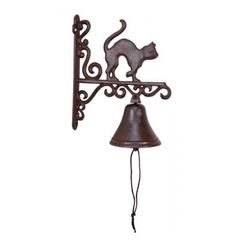 cast iron bell with cat wall mounted french country cottage barnyard shabby chiccrazy cat lady by MagpiesHoardVintage Wall Seating, Patio Seating, Cast Iron, It Cast, Wooden Poles, Rustic Doors, French Country Cottage, Cat Wall, Iron Wall