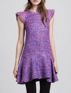 Pink Lady / Alexis pink and purple tweed dress with flounce skirt, $350, neimanmarcus.com