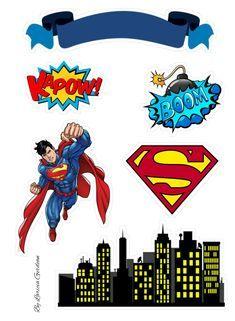 Bolo Do Superman, Superman Cake Topper, Superman Cakes, Superman Birthday Party, Superhero Party, Bolo Super Man, Superhero Cookies, Spiderman, Batman