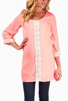 Pink-Crochet-Accent-Maternity-Tunic #maternity #fashion