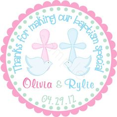 Boy Girl Twins Cross and Doves Personalized Stickers - Party Favor Labels, Christening, Holy Communion, Baptism - Size Choice