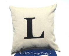 pillow #applique #monogram #drop cloth #Seacliffe Cottage Designs