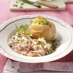 Pommes de terre au four et sauce au thon Recette | Weight Watchers