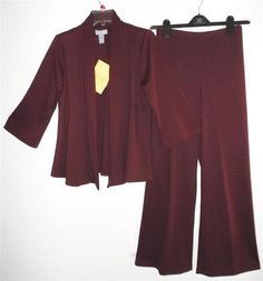 NWT Modern Soul QVC~Burgundy Knit~Swing Jacket~Pantsuit~Pants Outfit Small