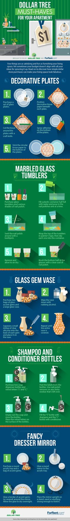 Dollar Tree Must-Haves for Your Apartment #Infographic #HomeImprovement