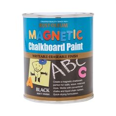 Rust-Oleum Magnetic Chalkboard Paint is a tough, scratch resistant finish that allows you to create a writeable / wipeable chalkboard surface on a wide range of substrates. Converts surfaces into a usable magnetic chalkboard. Magnetic Chalkboard Paint, Black Chalkboard Paint, Magnetic Wall, Diy Magnetic Board, Blackboard Paint, Paint Stain, Chalk Paint, Chalkboard Wall Bedroom, Liquid Chalk Markers