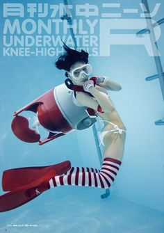 """Dive into the World of Underwater Knee-High Socks Every Month With """"Gekkan Suichu Niso R"""" Magazine! Human Poses Reference, Pose Reference Photo, Character Poses, Character Design, Pool Poses, Drawing Body Poses, Arte Cyberpunk, Girl In Water, Scuba Girl"""