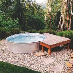 It's almost that time of year again! Can't wait to get her ready. Our house just gets WAYYYY too hot! Backyard Pool Designs, Small Backyard Pools, Pool Landscaping, Stock Pools, Stock Tank Pool, Happpy Birthday, Water Tub, Baby Pool, Swimming Pools
