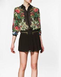 Floral Lapel Long Sleeve Black Chiffon Shirt - Sheinside.com ($29.00) - Svpply