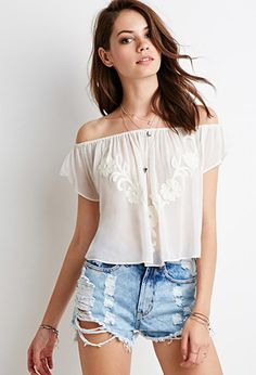 Embroidered Chiffon Off-the-Shoulder Top | Forever 21 - 2000077199