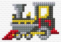 sewing and embroidery Tiny Cross Stitch, Cross Stitch For Kids, Simple Cross Stitch, Cross Stitch Designs, Cross Stitch Patterns, Cross Stitch Train, Loom Patterns, Knitting Patterns, Cross Stitching