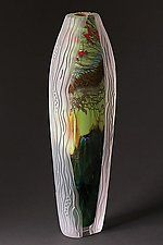 "Carved Collection: Forest Series 16-FS-8 by Steven Main (Art Glass Sculpture) (11.5"" x 3.75"")"