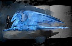 Eragon and Saphira the Blue Dragon Fairytale Creatures, Magical Creatures, Fantasy Creatures, Blue Dragon, Dragon Art, Fantasy Dragon, Fantasy Art, Eragon Saphira, Saphira Dragon