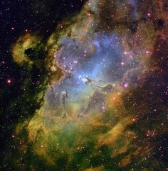 The Eagle Nebula, displayed in false color, where the presence of different elements are assigned different colors to highlight the three-dimensional nature of the nebula. The famous Pillars of Creation can be seen at center.