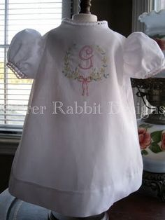Shadow embroidered apron