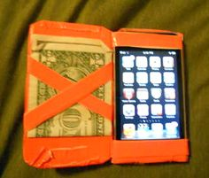 Duct tape magic wallet which is a combo iPod case