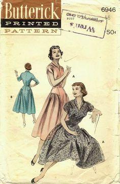 "Butterick 6946. 1950's. Bust 34"". Original. Complete."