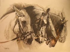 """The Strength of Horses"" mixed media horse painting by Susie Gordon"