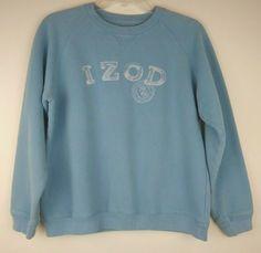 cd09858e31e Izod Womens Medium Sweatshirt Pullover Spell Out Logo 90s Vtg Light Blue  Golf #IZOD #