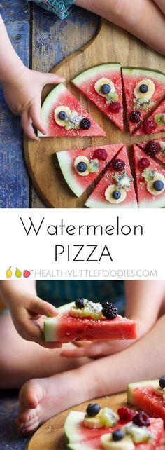 Watermelon pizza is a refreshing, fun and healthy snack / dessert for kids. kids choose toppings for fun!