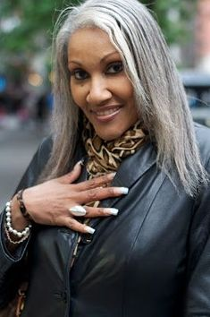 """beautiful women with silver hair 