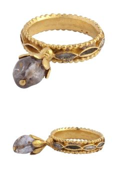 """BYZANTINE GEMSTONE RING, Constantinople, 6th - 7th centuryGold, sapphire and inlaid mother of pearl ~ It just amazes me how this ring has held up over the CENTURIES! Not years...centuries. And not just """"held up"""" but remains timeless in it's design concept. Lovely..."""